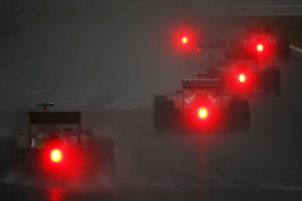 Situação da pista no momento do acidentede Jules Bianchi - Foto: Andrew Hone / Pirelli
