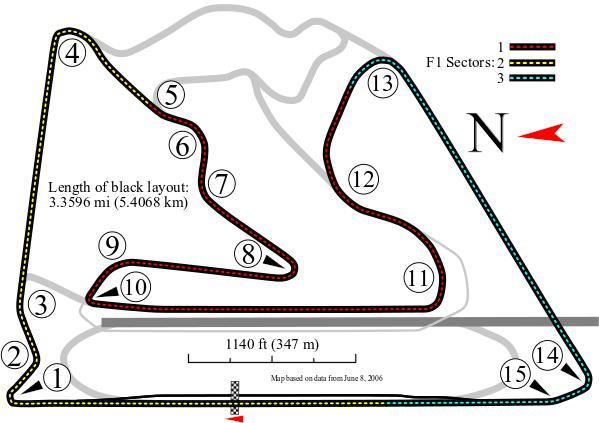 "Foto: ""Bahrain International Circuit--Grand Prix Layout"" por Will Pittenger - Obra do próprio."