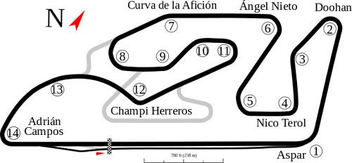 """Valencia (Ricardo Tormo) track map"" por Will Pittenger"