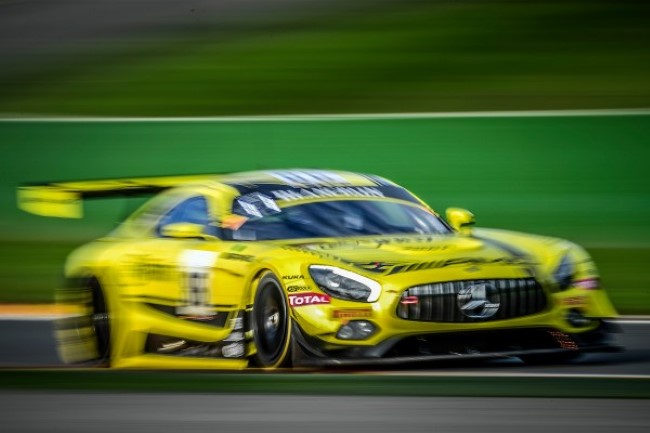 Maxi Götz levou seu Mercedes AMG 86 do time HTP Motorsport a pole da primeira parte do qualify das 24hrs de Spa. - Foto: Blancpain GT Series.