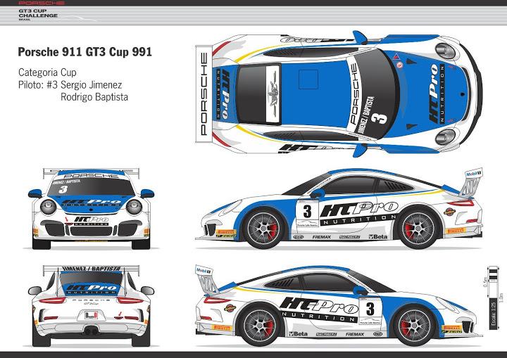Layout do belo 911 nº 3 da dupla brasileira. - Foto: GT3 CUP Challenge.