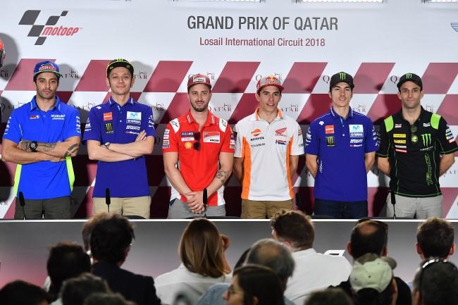 Andrea Iannone (ITA), Valentino Rossi (ITA) Andrea Dovizioso (ITA), Marc Marquez (SPA), Maverick Vinales (SPA), Johann Zarco (FRA) - MotoGP - GP Qatar 2018 (Circuit Losail) - Foto: Michelin