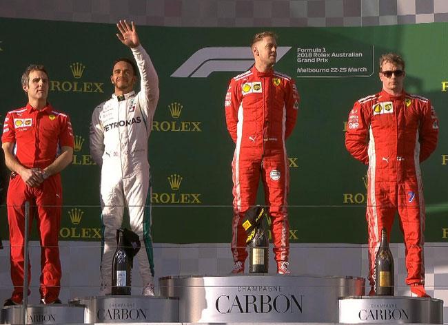 Pódio GP Austrália 2018 - F1 - Foto: Facebook Oficial Scuderia Ferrrari F1